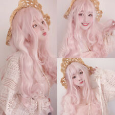 Women Long Peach Pink Hair Cosplay Costume Performance Prom Stylish Party Wig
