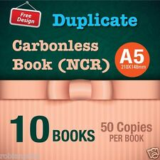 10 x A5 Custom Duplicate Carbonless QUOTE/Tax INVOICE Book + Free Design