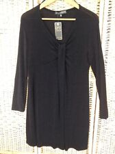 QED LONDON Size 14 Black V-Neck Stretchy Midi Dress BNWT Long Sleeves