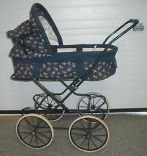 Vintage Simo Baby Doll Carriage Stroller Dark blue Bear Pattern