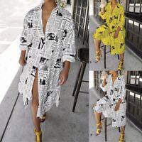 Fashion Women Newspaper Print Long Sleeve Coat Button Casual Party Midi Dress #