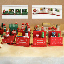 Christmas Wooden Train Carriage Toy Santa Claus Ornament Home Table Decor Gift !