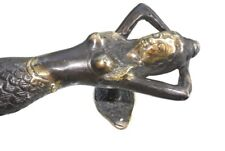 "medium aged MERMAID brass door PULL old style heavy house PULL handle 13""  B"