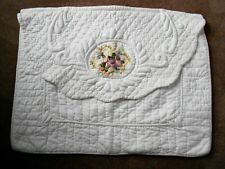 2 Shabby Chic Style Floral Pillow ShamS White Quilted Jc Penney 21X27 Standard