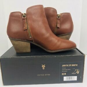 Women's Frye Judith Ankle Double Zip Booties Brown Whiskey Leather Size 8.5M New
