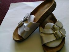 Women's Sandals Size 9 SILVER Slide on light weight **NEW** suede cork