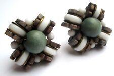 Belles boucles d'oreilles clips bijou vintage couleur or perles bois taupe 1988