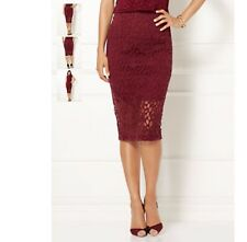 NWT EVA MENDES COLLECTION BURGUNDY CLASSIC SANGRIA FLOCKED LACE PENCIL SKIRT 14