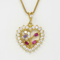 NYJEWEL Brand New 21k Gold Valentines Day Ruby W Stone Heart Pendant Necklace