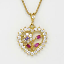 Ruby W Stone Heart Pendant Necklace Nyjewel Brand New 21k Gold Valentines Day