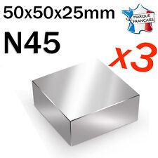 LOT DE 3 SUPER AIMANT MAGNET NEODYM N45 - 50x50x25mm - 300Kg