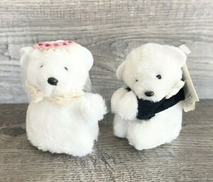 "Dakin Vtg 1986 Hugger Pincher Bride Groom Wedding Marriage Bridal 3"" White Bears"