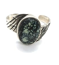 King Baby Sterling Silver and Spotted Turquoise Wing Cuff Bracelet