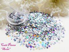 Nail Art *ArcTic* Silver Gunmetal Hexagons Holographic Mixed Glitter Spangle Pot