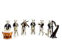 Katzenkapelle Katzen Musiker - Wiener Bronze - sechsteilige Katzenfiguren-Gruppe