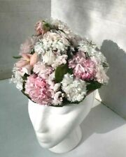 Cute! Pale pink+white multi flower and velvet vintage hat made in Paris / G Fox