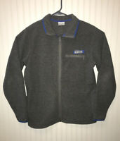 Columbia PFG Harborside Fleece Full Zip Jacket Gray w Blue Trim Sz Small