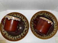 2 Vintage USA Pottery Brown Drip Coffee Cups/Mugs and Saucer 4 piece set