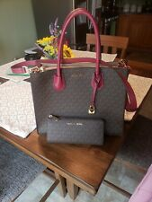 Michael kors Mercer Mulberry and brown with wallet