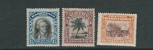 COOK ISLANDS 1920 KGV PICTORIALS (Scott 63-65 SHORT SET) F/VF MH