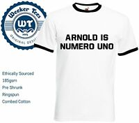 Arnold Is Numero Uno T Shirt worn by Arnold Schwarzenegger. New Customisable Top