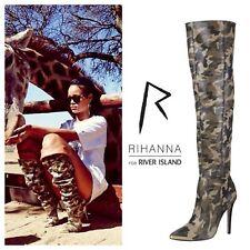 RIHANNA Super Rare River Island Khaki camo pointed stiletto knee high boots 38