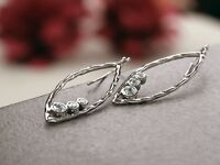 PAZ Creations .925 Sterling Silver Marquise Shaped Dangle CZ Earrings, Israel