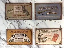 OLD AMMUNITION PLAQUES- Set of 12 -FIREARMS, AMMUNITION, POWDER and SHELLS signs