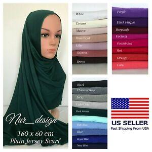 Premium Cotton Jersey Plain Small 160-60cm Muslim Scarf 48 colors U.S. seller