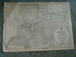 Vintage Admiralty Chart 1160 UK - BARNSTAPLE & BIDEFORD 1953 edn