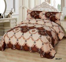3-Pcs Super Soft KING Quilted Reversible VELVET Bedspread Coverlet Set - MILEY