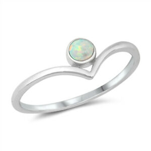 925 Sterling Silver Wishbone V Shape Ring with White Opal Stone J L N P R T