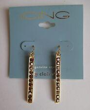 dd Gold tone Amber Crystal Dangle Earrings ICING FASHION JEWELRY