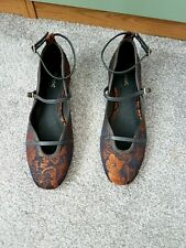 BN (£34) NEXT Dark Navy Flats With Gold Floral Print Ankle Strap Shoes Size 7