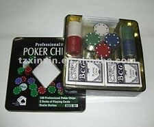 SET POKER TEXAS HOLDEM 100 CHIPS FICHES PROFESSIONALE CARTE COFANETTO METALLO