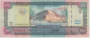 El Salvador banknote  P140-5010 100 Colones 10.10.1994 Serie CV, VF   WE COMBINE