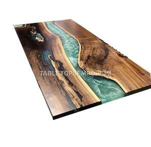 Green Resin River Center Sofa Wooden Table Top Handmade Royal Furniture Decor