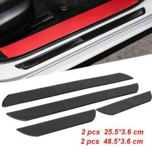 4pcs Car Carbon Fiber Scuff Plate Door Sill Cover Panel Step Protector Guard