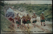 WWI c.1916 Highlanders Pipe Themselves Back From The Trenches Postcard