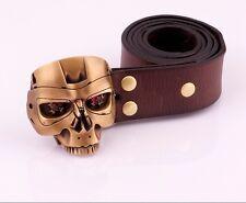 Nice Handmade OGRM Bronze T800 Terminator Head Men Belt Buckles Cowhide Leather