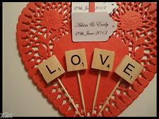 Wooden Scrabble letters LOVE Cup Cake Wedding Cake Topper Engagement Party DIY