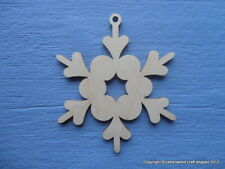 Wooden Snowflake Christmas Decoration Gift Tag Plain Blank Shape 10cm Pk of 10