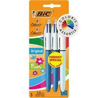 """BIC"" lot de 3 stylos 4 couleurs, Stylo bille ""original et fun"" pointe moyenne"