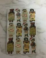 Vintage Stickers Cynthia Hart Christmas Kittens Cats Bears Stickers VTG 1995