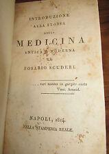 Introduzione alla storia della medicina Rosario Scuderi Napoli 1814 stamperia