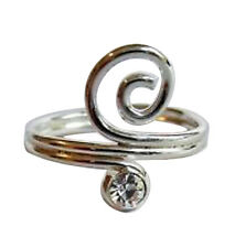 Spiral Toe Ring ! New ! Sterling Silver (925) Adjustable Clear Stone