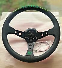 320mm Vertex Green Stitch Leather Steering Wheel Deep Dish For OMP Hub Drifting