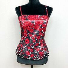 White House Black Market Size 6 Roses Are Red Black & Red Bustier