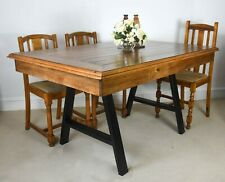 5ft Solid pine reclaimed wood & Industrial A-frame metal dining table farmhouse