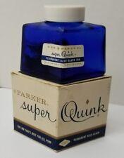 Vintage PARKER Ink BOTTLE Orig COLBALT Glass with Label & Box EMPTY for DISPLAY